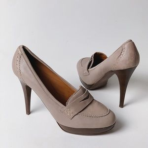 J. CREW Biella High Heeled Loafer Taupe Nude